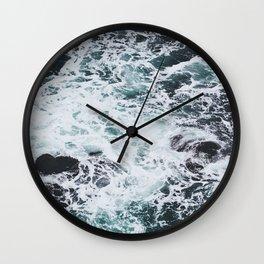 OCEAN - ROCKS - FOAM - SEA - PHOTOGRAPHY - NATURE Wall Clock