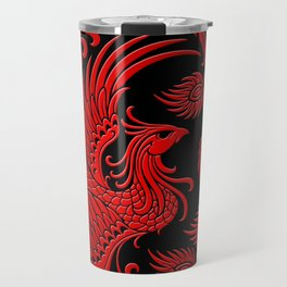 Traditional Red and Black Chinese Phoenix Circle Travel Mug