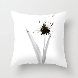 Albino flower ink explosion Throw Pillow