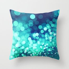 Aqua Blue Glitter Wave Throw Pillow