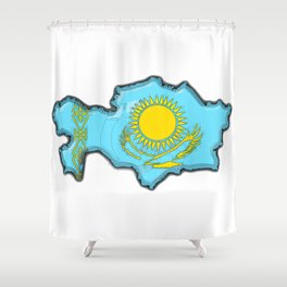 Kazakhstan Map with Kazakh Flag Shower Curtain