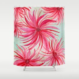 Festive Pinwheel Swirls Watercolor Custom Design Shower Curtain