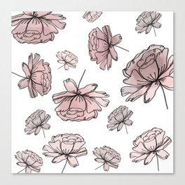 Hand Drawn Peonies Dusty Rose Canvas Print