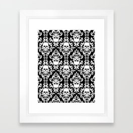 Skull Damask Framed Art Print