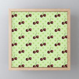 CHERRIES ON MINT GREEN Framed Mini Art Print