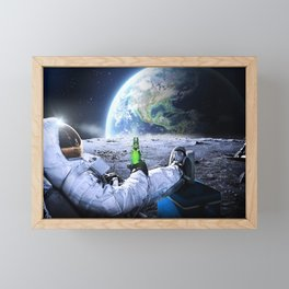 Astronaut on the Moon with beer Framed Mini Art Print