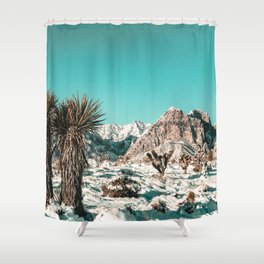 Vintage Lovers Cacti // Red Rock Canyon Mojave Nature Plants and Snow Desert in the Winter Shower Curtain