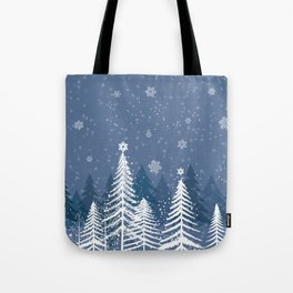 Winter Snow Forest Tote Bag