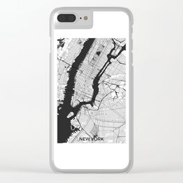 New York Map Gray Clear iPhone Case