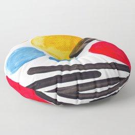Mid Century Modern Abstract Juvenile childrens Fun Art Primary Colors Watercolor Minimalist Pop Art Floor Pillow