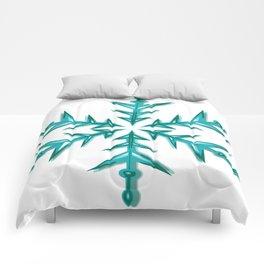 Minimalistic Aquamarine Snowflake Comforters