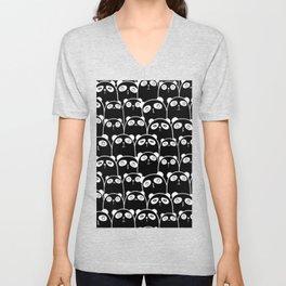Cute Pandas BW Unisex V-Neck