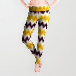 Chevron/Zigzagging Gradual Yellow & Dark Purple Color Leggings