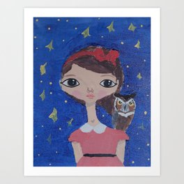 ~ Great Horned Owl ~ 10 Year Old Amelia's Arizona Critter Girl Art Print