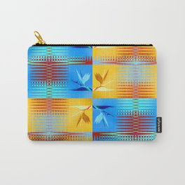 Birds of Paradise Retro Floral Blue and Gold Carry-All Pouch