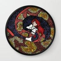 depression Wall Clocks featuring Depression Repression by Danielle Quackenbush