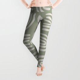 Abstract Rainbow Pattern, Sage Green Leggings
