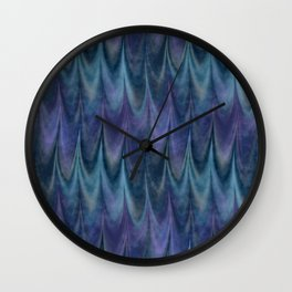 Blue Abstract Feather Pattern Wall Clock
