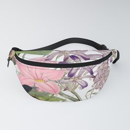 Vintage & Shabby Chic Pink Cockatoo Tropical Flower Jungle Fanny Pack