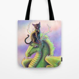 Black Cat Riding a Dragon Tote Bag