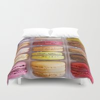 macaroons Duvet Covers featuring French Macarons  by Laura Ruth