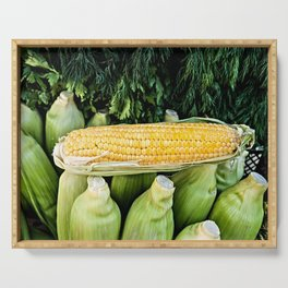 Yellow Corn Over Green Cobs Serving Tray