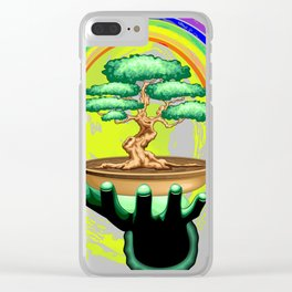 Bonsai Tree and Rainbow on Green Hand - Protecting Nature Clear iPhone Case