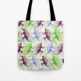 Watercolor women runner pattern Brown green blue Tote Bag