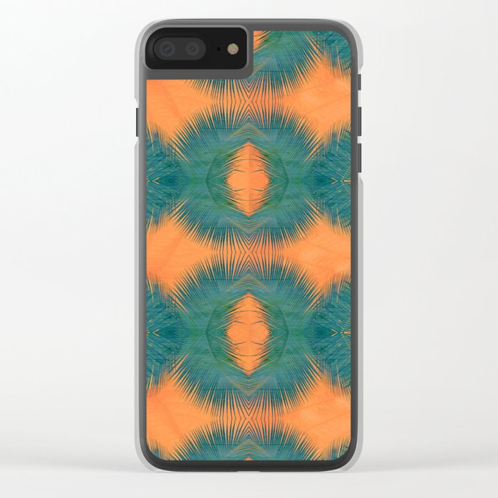 Coral Palm Clear iPhone Case