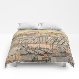Parisian roofs in sunset Comforters