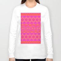 orange pattern Long Sleeve T-shirts featuring Tribal Pattern (Pink & Orange) by christinarashel