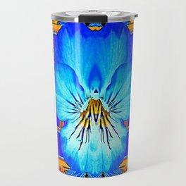 Orange Southwest Blue pansy Patterned Art Design Travel Mug