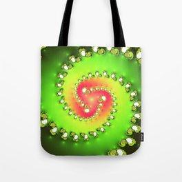 """Watermelon Tourmaline"" Spiral Fractal Art Tote Bag"