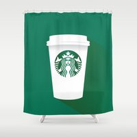starbucks Shower Curtains featuring starbucks  by Daryl Beaney
