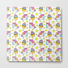 Cute colorful magical baby unicorns and sweet yummy cupcakes and bright golden stars cartoon white pattern design. Nursery decor ideas. Funny gifts for unicorn lovers. Metal Print
