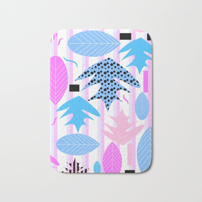 Leaf mix in pink and blue Bath Mat