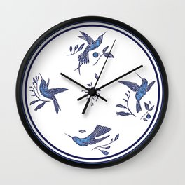 Delft Blue Humming Birds & Leaves Pattern Wall Clock