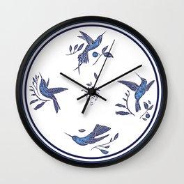 Delft Blue Humming Birds & Leaves Pattern Wall Clock