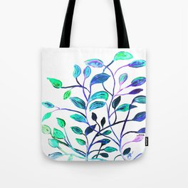 Shiny Silver Teal Leaves Tote Bag