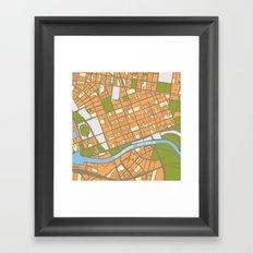 Vintage Style Map of Melbourne - ORANGE Framed Art Print