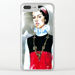 fashion #53: girl with a heavy necklace on her neck Clear iPhone Case
