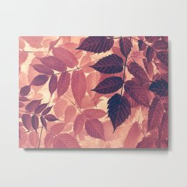 vintage fall leaves Metal Print