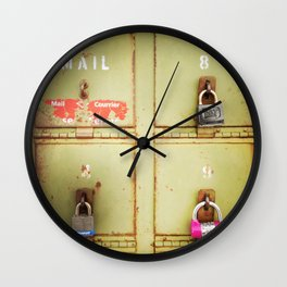 Green Locked Mailboxes Wall Clock
