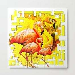 MODERN YELLOW ART DECO FLAMINGO  ART ABSTRACT Metal Print