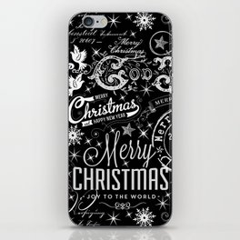 Black and White Christmas Typography Design iPhone Skin