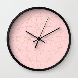 pink rose gold mandala pattern Wall Clock