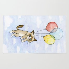 Cat With Balloons Grumpy Birthday Meme Rug