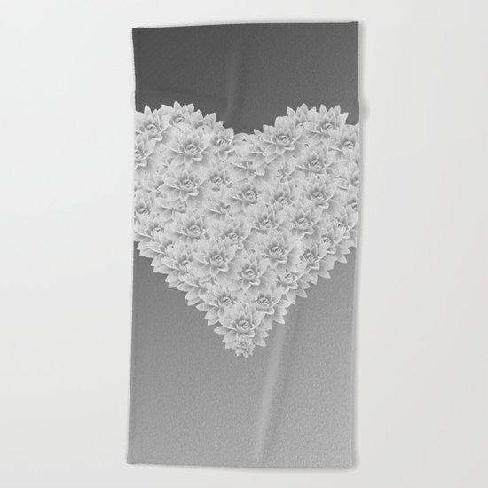 White heart Beach Towel