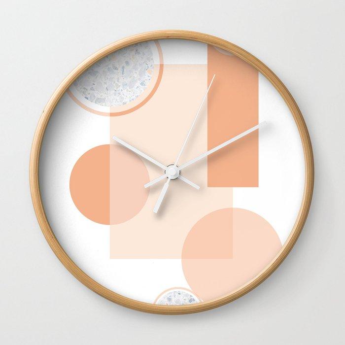 Minimal Abstract Modern Design Terracortta Orange Wall Clock
