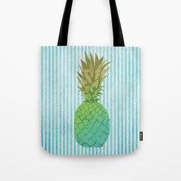 Gold and blue pineapple over blue strips Tote Bag